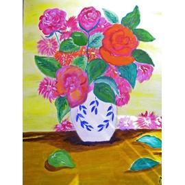joli tableau acrylique vase de fleurs sur chassis toile acrylic painting on frame. Black Bedroom Furniture Sets. Home Design Ideas