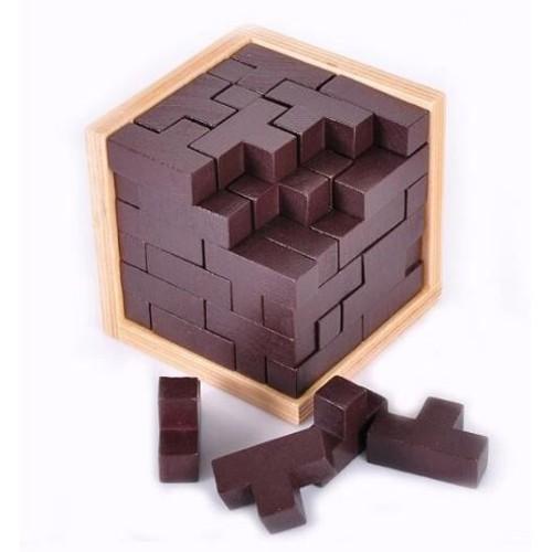 jouet jeux casse t te mini cube puzzle style tetris bois pour enfants et adultes. Black Bedroom Furniture Sets. Home Design Ideas