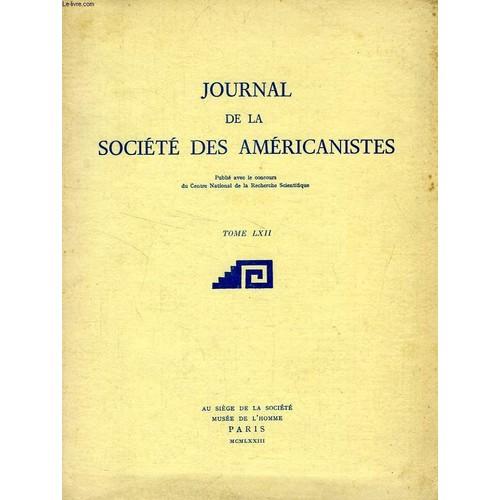 JOURNAL DE LA SOCIETE DES AMERICANISTES - 1 TOME