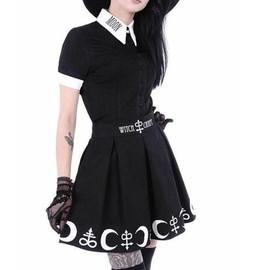 0e3699bf510c22 Jupe Courte Noir Écolière Lune Japonais Croix Goth Gothique Émo Punk