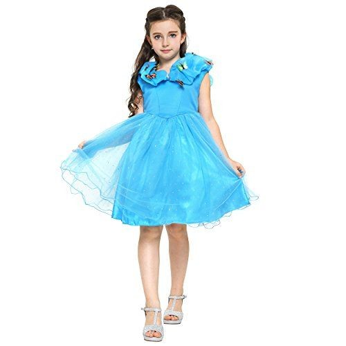32f0fb6f8d2b0 Katara - Robe Déguisement De Cendrillon Pour Filles En Bleu Avec Papillons-  Robe De Princesse Disney De ...