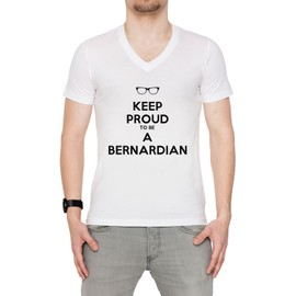 432ccb9a6a0 Keep Proud To Be A Bernardian Homme T-Shirt V-Col Blanc Manches Courtes