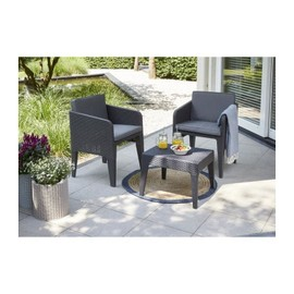 KETER Salon de jardin COLUMBIA 2 places - Imitation rotin tressé - Gris