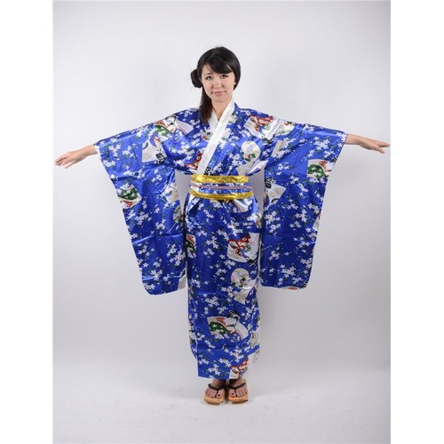 kimono long japonais geisha fleurs de cerisier sakura ceinture obi yukata femme adulte l ger. Black Bedroom Furniture Sets. Home Design Ideas