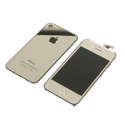 kit argent silver chrome ecran lcd vitre tactile assembl pour iphone 4 neuf. Black Bedroom Furniture Sets. Home Design Ideas