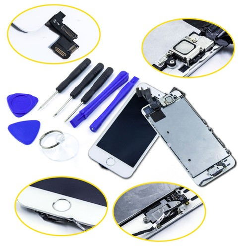kit complet vitre tactile iphone 5s ecran lcd sur chassis home cam ra frontal outil blanc. Black Bedroom Furniture Sets. Home Design Ideas