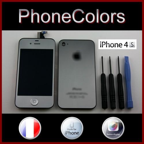 kit couleur complet iphone 4s silver argent gris demi miroir cran tactile lcd retina vitre. Black Bedroom Furniture Sets. Home Design Ideas
