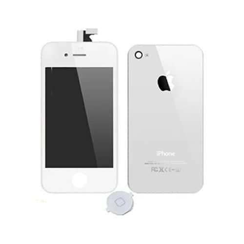 kit pour iphone 4s ecran lcd vitre tactile assembles bouton home vitre arriere blanc. Black Bedroom Furniture Sets. Home Design Ideas