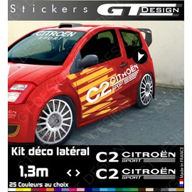 kit stickers autocollants deco lateral citroen c2 sport vts racing. Black Bedroom Furniture Sets. Home Design Ideas