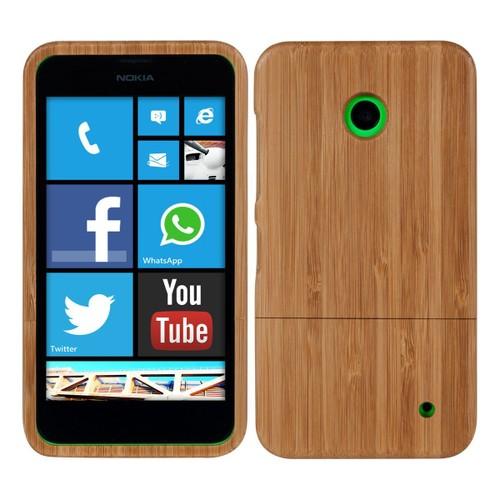 kwmobile coque en bambou v ritable pour nokia lumia 630 635 au marron clair. Black Bedroom Furniture Sets. Home Design Ideas
