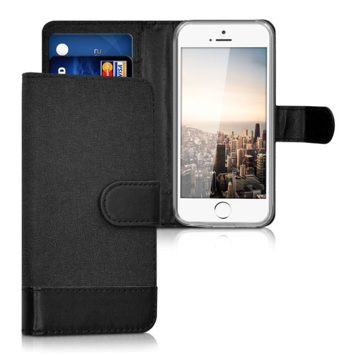 Kwmobile Tui Portefeuille En Cuir Synthtique Pour Apple Iphone Se 5 5s