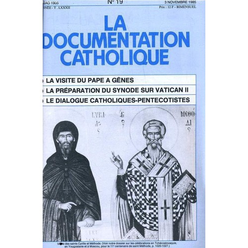 La Documentation Catholique N 19 Visite Du Pape Gnes