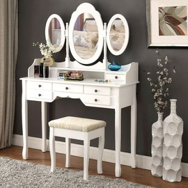 Langria Ensemble De Commode Coiffeuse Table Maquillage Avec Un