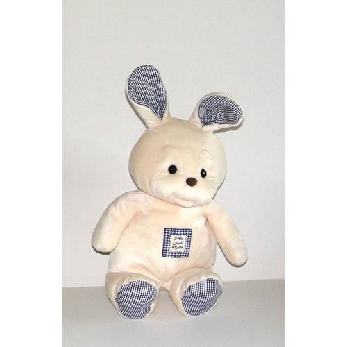 lapin doudou nounours passeport tendresse peluche petit coquin malin beige vichy bleu 36 cm 10 cm oreilles - Petit Nounours