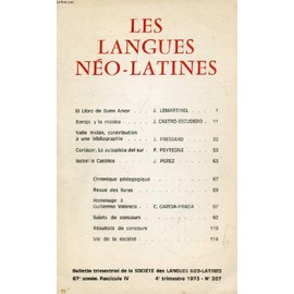Les Langues Neo-Latines, 67e Annee, N° 207, 1973 (Sommaire