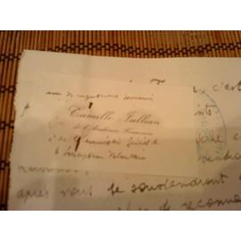 Lettre Manuscrite Et Carte De Visite Camille Jullian