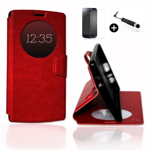 Lg G2 Mini Super Pack Premuim Etui Fenetres Housse Coque Folio Rouge Pu Stylet