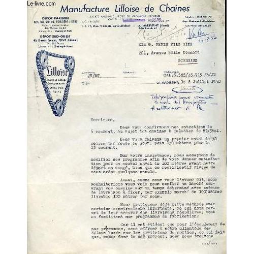 lettre ancienne illustree de la manufacture de lilloise de chaines societe anonyme lilloise de. Black Bedroom Furniture Sets. Home Design Ideas