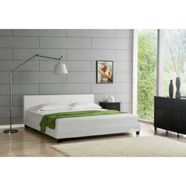 lit 140x190 elise simili cuir blanc achat et vente. Black Bedroom Furniture Sets. Home Design Ideas