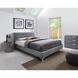 lit adulte design gris thomas 160x200 cm avec sommier meuble en simili cuir id al pour votre. Black Bedroom Furniture Sets. Home Design Ideas