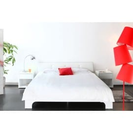 lit design laqu blanc 2 personnes 140x190 elio pas cher. Black Bedroom Furniture Sets. Home Design Ideas