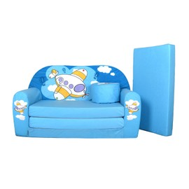 lit enfant fauteuils canap sofa pouf et coussin petit avion bleu w319 05. Black Bedroom Furniture Sets. Home Design Ideas