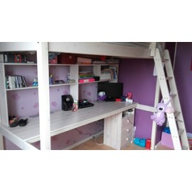 lit mezzanine 1 place blanc bureau achat et vente. Black Bedroom Furniture Sets. Home Design Ideas