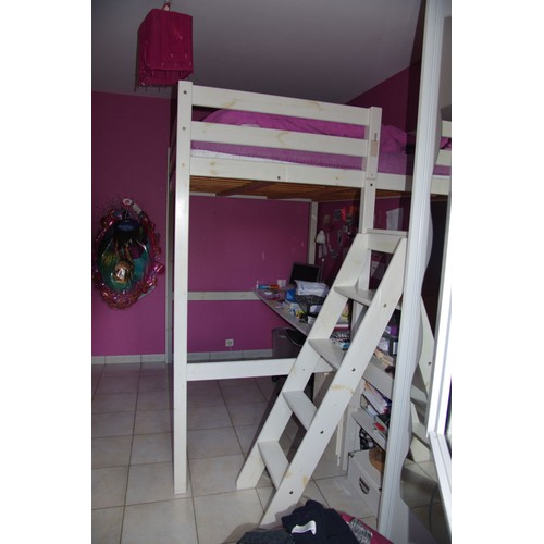 lit mezzanine blanc 2 p 140 x 190 avec escalier achat et vente. Black Bedroom Furniture Sets. Home Design Ideas