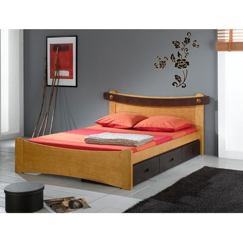 lit saga en pin massif 120x190 finition patine anglaise couleur wenge. Black Bedroom Furniture Sets. Home Design Ideas