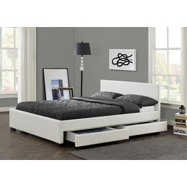 lit simili blanc avec t te de lit et tiroirs boston 160x200. Black Bedroom Furniture Sets. Home Design Ideas