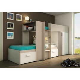 lit superpos enfant ultra moderne 90x200 coloris bois gris et blanc. Black Bedroom Furniture Sets. Home Design Ideas