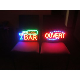 lot 2 enseignes panneau lumineux led bar et ouvert. Black Bedroom Furniture Sets. Home Design Ideas