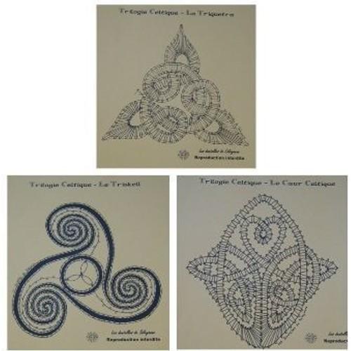 Lot 3 mod les cartons dentelle aux fuseaux triketra coeur - Modeles gratuits de grilles de dentelles aux fuseaux ...