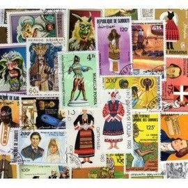 Lot De 100 Timbres De Costumes Et Uniformes