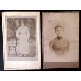 Lot De 2 Cdv Cartes Visite Grand Format Portraits Femmes En 1900