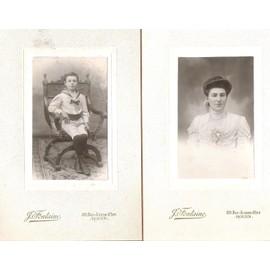 2 Lote fotografías infantil vestuario marineromujer1880 antiguas de de de Ygbf7v6y