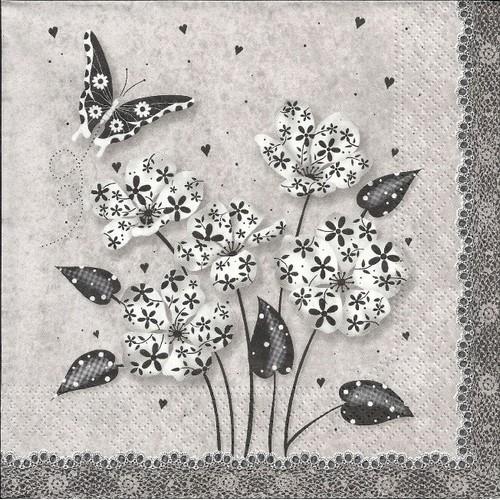 lot de 2 serviettes d co papier bouquet en noir et blanc tr s chic. Black Bedroom Furniture Sets. Home Design Ideas