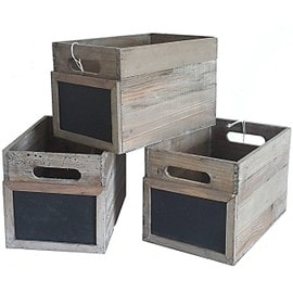 lot de 3 casiers casier en bois avec ardoise sur le devant bac de rangement cagette en bois. Black Bedroom Furniture Sets. Home Design Ideas