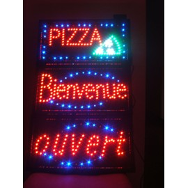 lot de 3 enseignes lumineuse a led pizza bienvenue ouvert. Black Bedroom Furniture Sets. Home Design Ideas