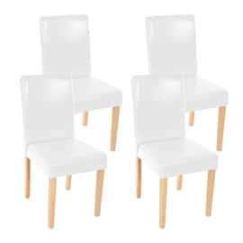 lot de 4 chaises de sjour littau simili cuir blanc pieds clairs - Chaise Cuir Blanc