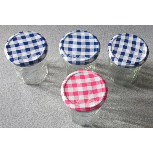 lot de 4 pots confiture vides couvercle carreaux bonne maman 3 bleu et blanc et 1 rose et. Black Bedroom Furniture Sets. Home Design Ideas