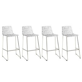 Lot de 4 tabourets de bar wilton 4 pieds polycarbonate cristal - Lot 4 tabouret de bar ...