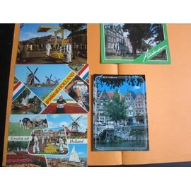 Lot De 5 Cartes Postales Des Pays Bas (Avec Correspondance, 2 Sont Affranchies, Fin Du Si�cle Dernier)