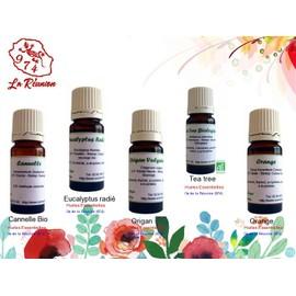 Lot De 5 D'huiles Essentielles Cannelle Bio/Eucalyptus Radi�/Origan/Tea Tree/Orange