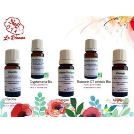 Lot De 5 D'huiles Essentielles Carotte/Cryptomeria Bio/Origan/Romarin Ct Cin�ole Bio (Rameaux)/Orange