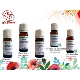 Lot De 5 D'huiles Essentielles Carotte/Gaulth�rie/Lavandin Super/Romarin Ct Cin�ole Bio (Rameaux)/Combava Bio