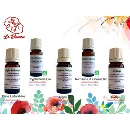 Lot De 5 D'huiles Essentielles Ciste Ladanif�re/Cryptomeria Bio/Origan/Romarin Ct Cin�ole Bio (Rameaux)/Orange