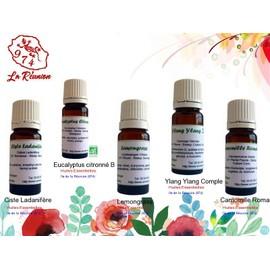 Lot De 5 D'huiles Essentielles Ciste Ladanif�re/Eucalyptus Citronn� Bio/Lemongrass/Ylang Ylang Complet/Camomille Romaine