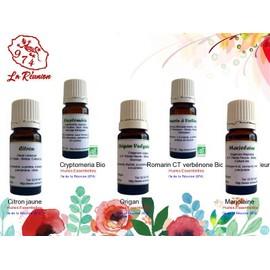 Lot De 5 D'huiles Essentielles Citron Jaune/Cryptomeria Bio/Origan/Romarin Ct Verb�none Bio (Sommit�s Fleuries)/Marjolaine