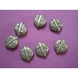 Lot De 7 Perles M�tal Argent�